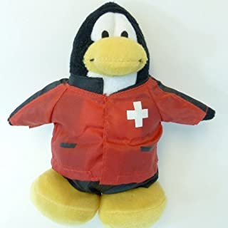 "RARE Club Penguin Rescue Worker 6.5"" Plush - Red Cross with Special Gold Coin Opens ""2"" Treasure Book Items!"