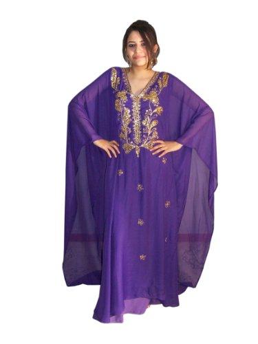 Egypt Bazar Abaya Festkleid aus Chiffon, Einheitsgröße: M bis XXXL (Lila/Gold)