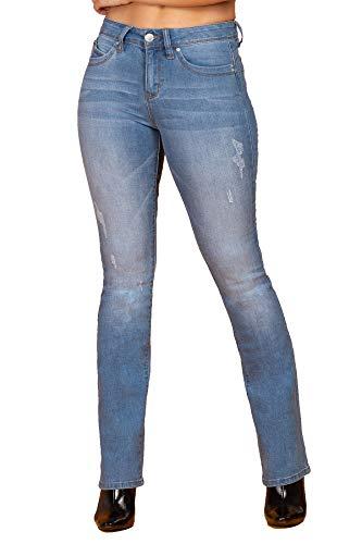 YMI Women's Junior Wannabettabutt Mid-Rise Denim Bootcut Jeans with a 9' Rise (Light Medium Blue Wash, 5)