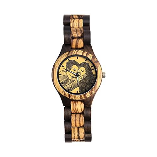 Reloj Personalizado Reloj con Foto Reloj De Pareja Reloj Personalizado con Imagen Reloj Marrón Reloj De Bambú Regalo De Cumpleaños Día del Padre Mejor Regalo