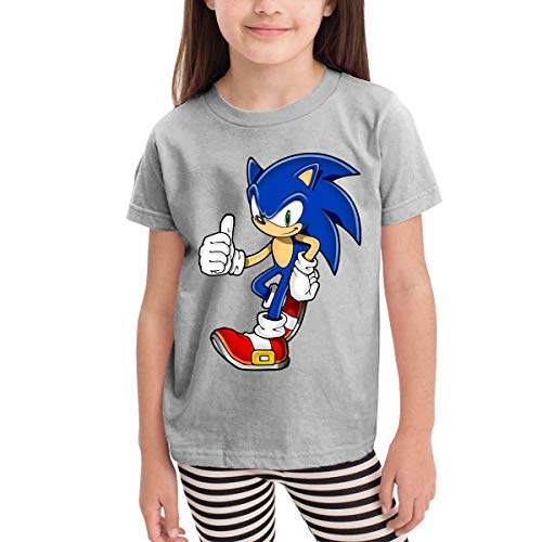 Radyk56rtyh Sonic The Hedgehog The Hedgehog Toddler's T-Shirt 100% Cotton Short Sleeve Cool Style Tee for Children Gray 4T