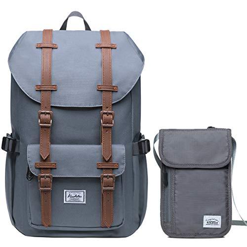 """KAUKKO Rucksack Damen Herren 16 Zoll Backpack für 13"""" Notebook mit Reisepass Tasche Familien Reise Brieftasche Dokumente Organizer/ 20 * 13cm (Grau[Ep5-7-grey-Set])"""