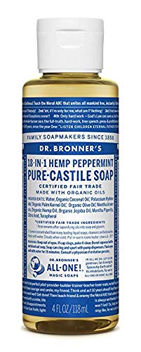 Dr. Bronner's - Pure-Castile Liquid Soap (Peppermint) - Made with Organic Oils, 18-in-1 Uses: Face, Body, Hair, Laundry, Pets and Dishes, Concentrated, Vegan, Non-GMO (4 Ounce)