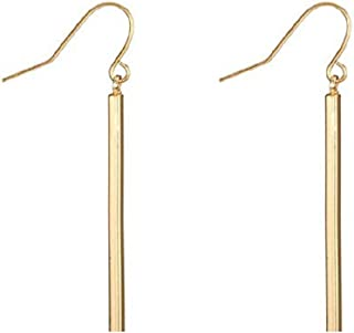 Bar Dangle Earrings Minimalist Linear Drop Charm Jewelry, Lightweight and Elegant, Trend All-Match for Girls and Women(Gold)