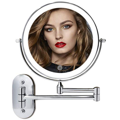 8' LED Lighted Wall Mounted Makeup Mirror Double Sided 10X Magnifying Vanity Light up Mirror for Bathroom Shaving, Dimmable LED Lights, 3 Color Modes, Extendable Arm, Touch Control, Chrome Finish
