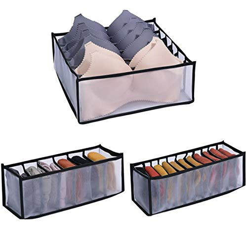 SJHFG Unterwäsche-Aufbewahrungsbehälter Startseite Fach Faltbare Socken Krawatten Schals Taschentücher Aufbewahrungsbox,Schwarz dreiteiliger Anzug