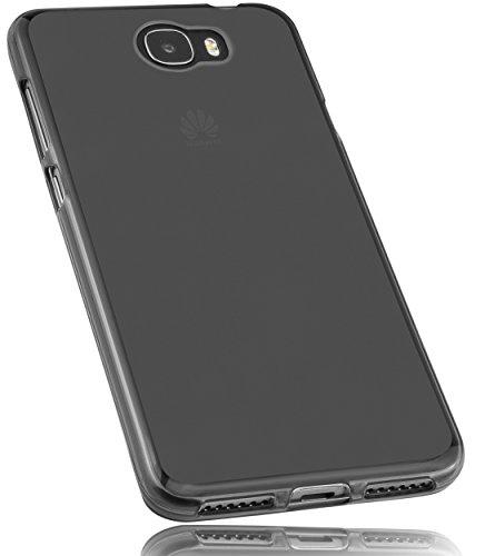 mumbi Funda Compatible con Huawei Y6 II Compact Caja del teléfono móvil, Negro Transparente