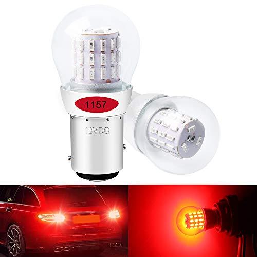 DEFVNSY - Paquete de 2 - Rojo 1157 BAY15D 2057 2357 7528 Luz LED extremadamente brillante 3014 39 Bombillas de repuesto SMD para luces de freno traseras - 12V DC