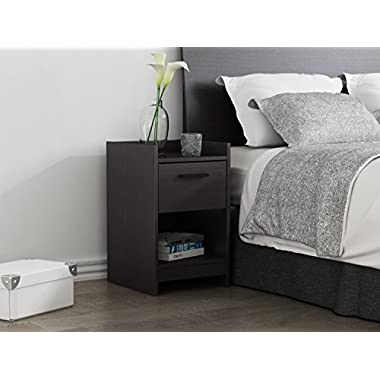 Homestar EB208753B9 Central Park 1 Drawer Nightstand, 15.98 x 13.7 x 22.44 , Black Brown