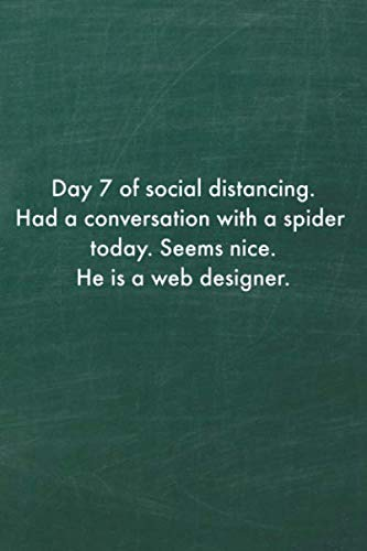 Day 7 of social distancing. Had a conversation with a spider tody. Seems nice. He is a web designer. journal: Notebook