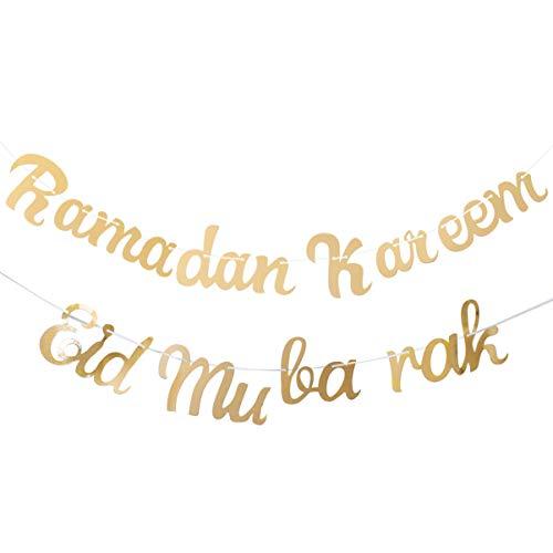 VALICLUD 2 Piezas Eid Mubarak Banner Ramadan Kareem Banner Partido Islámico Guirnalda de Papel Eid Mubarak Decoraciones