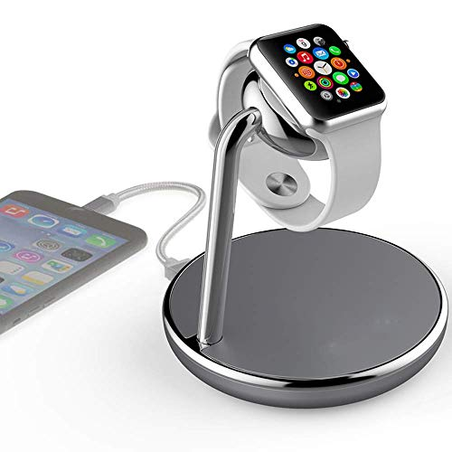 SHANGU Wireless Phone Watch Charger Station,3 in 1 Charging Pad Stand Qi Fast Wireless Charge Dock Pad Stand with Watch Magnetic Charger Module and USB Port for Apple iWatch,iPhone
