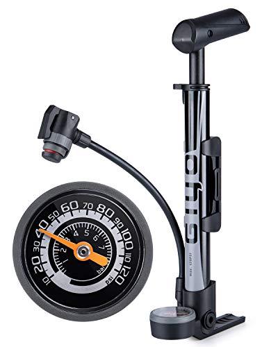 GIYO 自転車 空気入れ 携帯ポンプ 仏式/英式/米式バルブ対応 大型ゲージ付き 120psi 携帯用 軽量 ミニフロアポンプ ロードバイク/クロスバイク/ママチャリ/MTB用(GM-642)