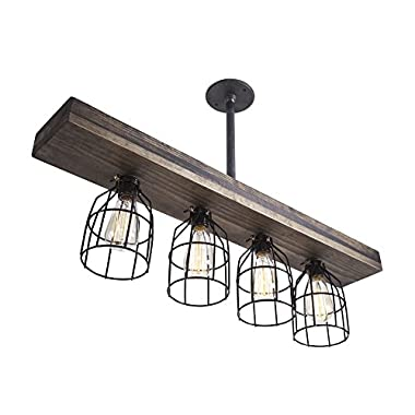 Fayette Triple Wood Light - Vintage Stained Smooth Indoor Downlight Farmhouse Chandelier - for Kitchen, Dining Room or Entryway - Easy Installation - Black Metal Cages