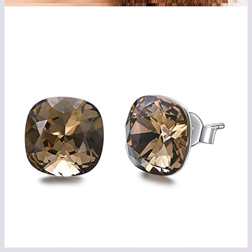 General supplies Hypoallergene Ohrringe s925 Silberkristall Sterling Silber einfache Ohrringe-Rauchquarz