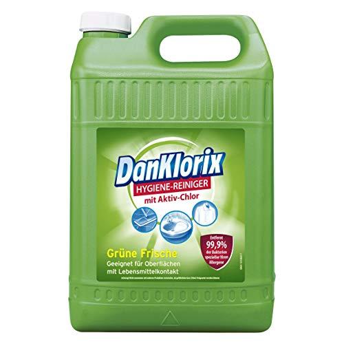 DanKlorix Hygiene-Reiniger Grüne Frische mit Chlor, 1 x 5 L - antibakterieller Reiniger für Haus & Garten, hochwirksam gegen Bakterien, Viren, Keime & Schimmelpilze
