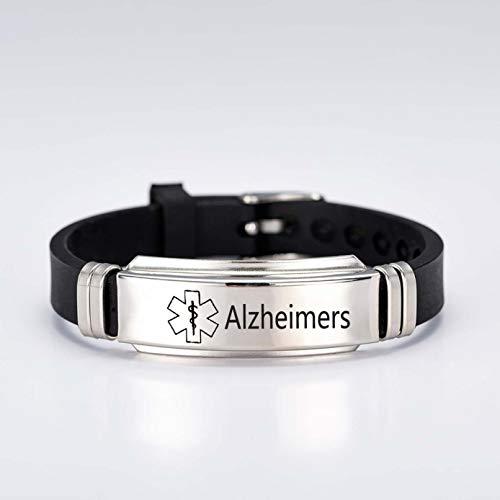 Silicone Sport Medical Alert ID Bracelet Laser Engraved Adjustable Wristband for Men Women Emergency First Aid (2-Alzheimers)