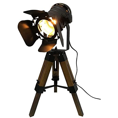 Lycoco Lámparas de Escritorio Lámpara de Mesa de Cine Ajustable - Náutico Negro Estilo Retro trípode focos Spotlights Lámpara de pie trípode de Madera