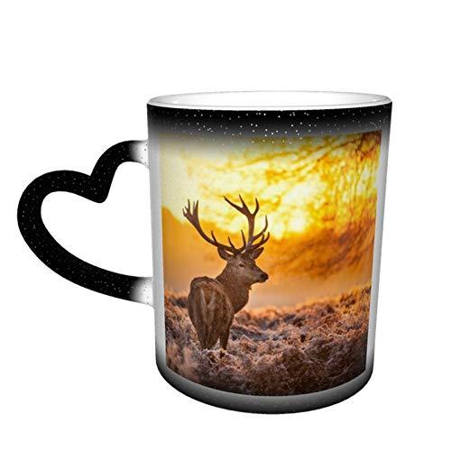 Taza de café cambiante mágica, animales, cuernos de animales Buck Deer Forest Frost personalizada impresión de cerámica sensible al calor taza para regalo regalo regalo té café