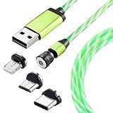 Ruibo Sike 540 - Cable de carga magnético con flores LED multicolor 3 en 1 Micro USB tipo C (1 m = 3 ft), color verde