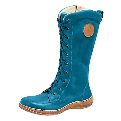 Kniehohe Stiefel Damen Schnürstiefel Plateau Langschaftstiefel Flache Winterstiefel Vintage Boots Frauen Winter Cowboystiefel Reiterstiefel Celucke (Blau, 39 EU)