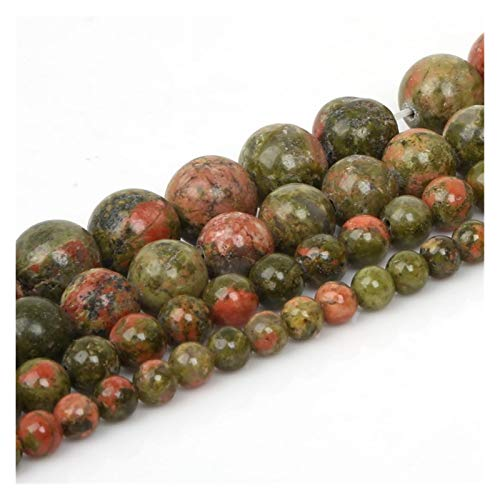 JINSUO NWXZU 4 6 8 10mm Natural Stone Beads Matte Lava Tiger Eye Red Black Loose Stone Beads For Jewelry Making DIY Bracelet Necklace (Color : Unakite, Size : 8mm/48Pcs)