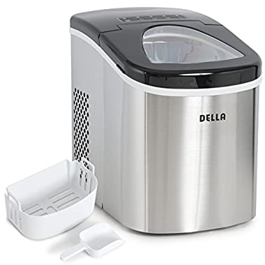 Della Portable Top Load Electric Ice Maker Produces up to 26 lbs. of Ice Daily, 2-Size Black/Stainless Steel