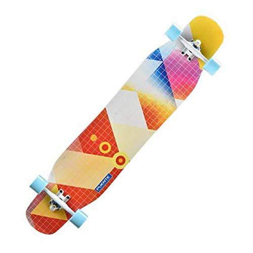 QINGMM Complete Skateboard Cruiser Skateboard 46 Zoll - Skate-Brett mit Longboard Rucksack, Ersatzlager, T-Werkzeug, Schmieröl für Anfänger Kinder Erwachsene