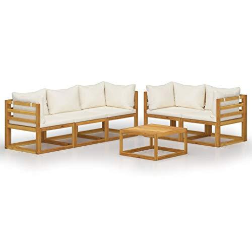 vidaXL Madera Maciza de Acacia Muebles de Jardín 6 Piezas Cojines Mobiliario Terraza Exterior Hogar Sofá Mesa Asiento Suave con Respaldo Crema