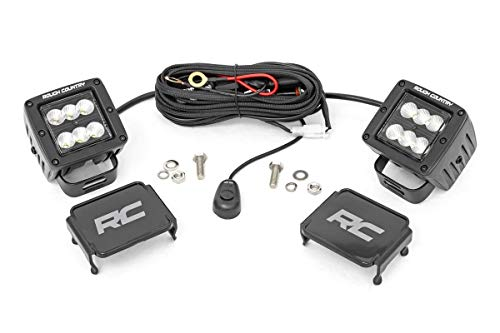Rough Country 2' Square CREE Cube LED Lights Black Series Flood Beam (Pair) 70133BL