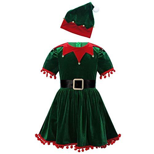 Agoky Traje Navideño Papá Noel para Bebé Niñas Disfraz de Dunde Elfo Conjunto de Santa Claus Navidad Infantil Disfraz Fiesta Christmas Nochebuena Verde 2-3 años