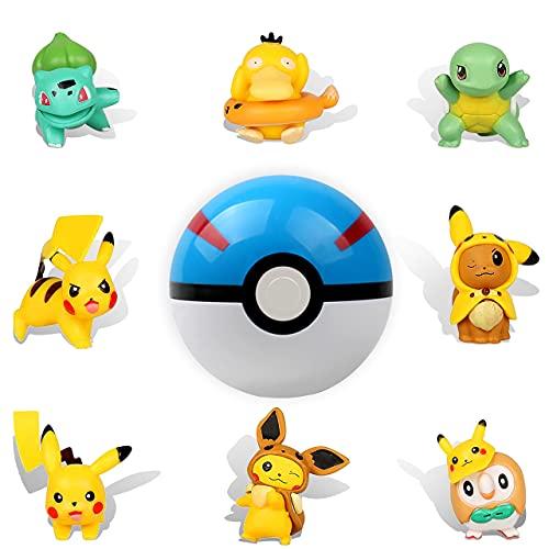 HONGECB Mini Pokemon figuras set,Pikachu Cake Topper Figuras, Pokebola, Decoración Tarta de Cumpleaños,Acción Juguetes Modelo Muñecas, Usado para Fiesta de cumpleaños Pastel Decoración, 9 piezas