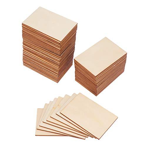 Supvox 60pcs carrés de bois vierges morceaux de bois pièces de découpe de bois non finis pour le bricolage projet d'artisanat décoration gravure au laser sculpture