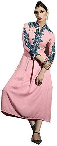 Jayayamala Tunika Cocktail-Minikleid Rosa gestickte Baumwolle Hippie Damen Kleid (XS)