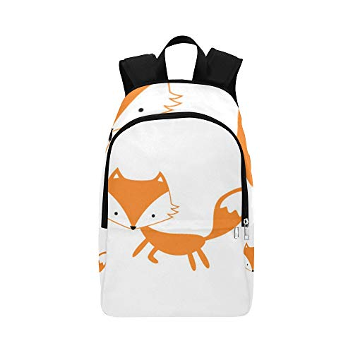 Bolsa Senderismo Mochila Clver Smart Orange Fox Lindo Animal Duradero Resistente al Agua Clásico Colegio Crossbody Bolsa Cool Bookbags Travelon Mochila Senderismo Bolsa Portador