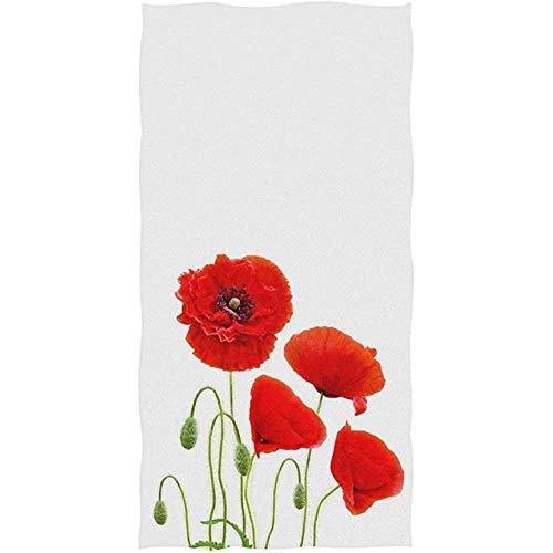 LaLa.R rode klaprozen met zaden maïsroos Weed Coquelicot-bloemenprint op witte zachte badhanddoek, absorberende handdoek, multifunctioneel, 30 x 70 cm