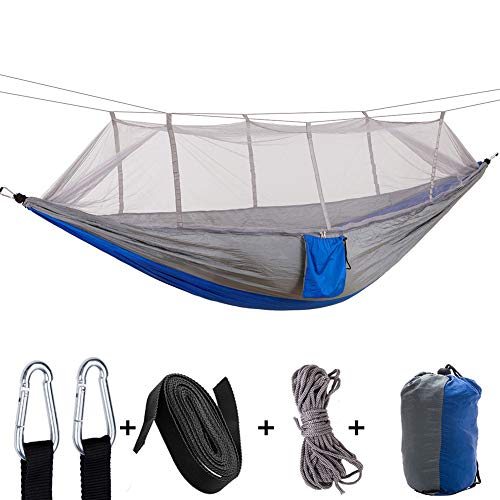XXCLZ Outdoor Hammock With Mosquito Net Ultralight and Portable Supports Up To 200Kg Parachute Camping Hammocks For Hiking Backpacking Travel Beach,Grey