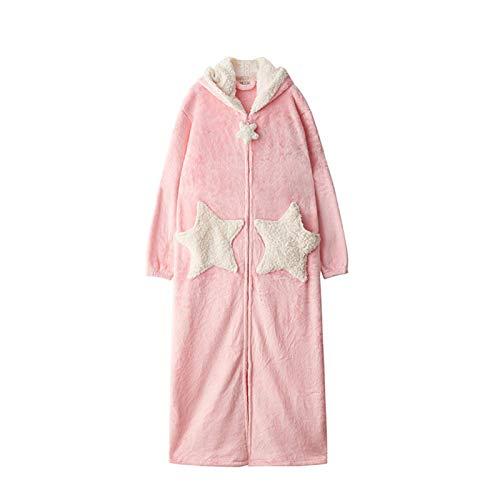 FHISD Camisón Popular para Mujer, Pijamas de Franela para Mujer, camisón Suelto y Albornoz de Terciopelo Coral Grueso Largo de Invierno, Regalos de Invierno