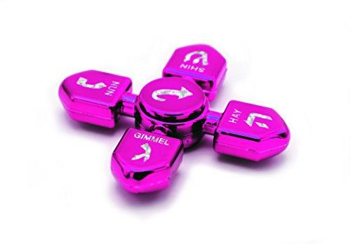 Hanukkah Dreidel Fidget Spinner Glossy Metallic Fuchsia/Pink, Chanukah Toys