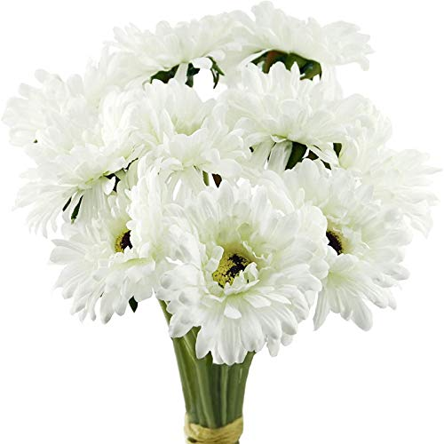 YYHMKB Artificial Flowers Silk Gerbera Bouquet 10 Stems | For Wedding Home Shop Office Party Décor | Diy Decoration (12.6 Inches) White