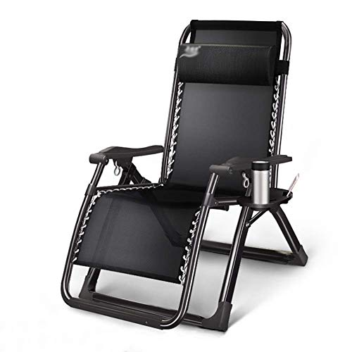 WZF Bequemer Gartenstuhl mit Sofa-Liege im Garten und im Freien Klappbarer Liegestuhl mit Schwerkraft-Liegestuhl ohne Schwerkraft für bis zu 200 kg (Farbe: Silberschwarz)