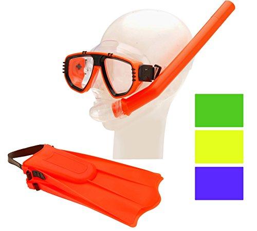 matrasa Schnorchelset für Kinder mit Schnorchel Schwimmflossen und Taucherbrille Neon-Orange