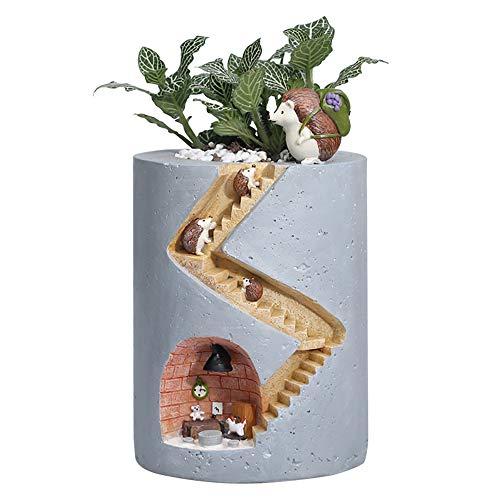 VIKMKM Harz Saftiger Blumentopf Cartoon-Stil Kaktus Blumentopf Haus und Büro Dekor Desktop Windowsill Bonsai Töpfe Hochzeit Geburtstag