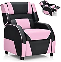 Costzon Kids Recliner, Gaming Recliner Chair w/Footrest, Headrest & Lumbar Support, Ergonomic Leather Lounge Chair for Living & Gaming Room, Adjustable Racing Style Sofa for Children Boys Girls, Pink