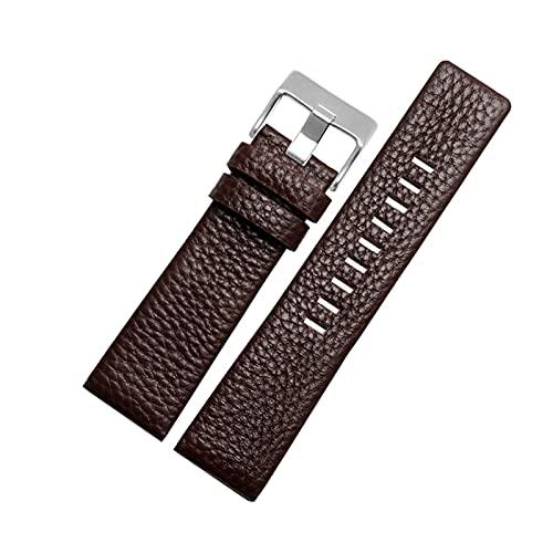 Correa de Cuero Genuino Reloj de Pulsera Banda 22-30mm Correa Marrón Negro Hombres Mujeres, marrón y Plata, 28mm