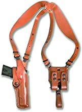 Premium Leather Vertical Shoulder Holster System with Double Magazine Carrier for CZ 75 SP-01 Tactical 4.6''BBL, Right Hand Draw, Brown Color #5004#