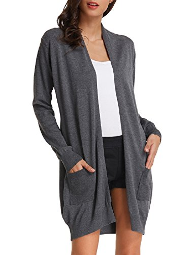 Women's Casual Longline Knitwear Cardigan with Pocket(L,Dark Grey)