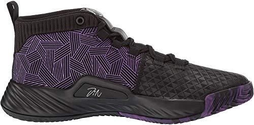 adidas Men's Dame 5 Baseball Shoe, Black/Active Purple/Silver, 6 Medium US Big Kid