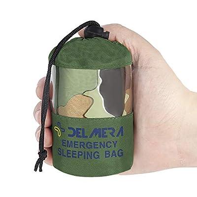 Delmera Emergency Sleeping Bag, Lightweight Survival Sleeping Bags Waterproof Thermal Emergency Blanket, Bivy Sack Survival Gear for Outdoor Adventure, Camping, Hiking, Orange, Green (Camouflage)