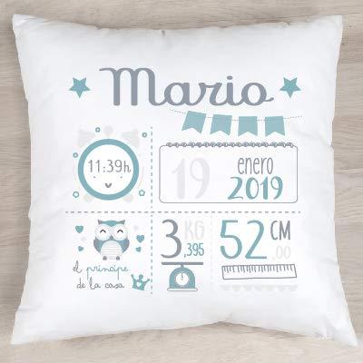 Verimpressió Cojín personalizado para recién nacido con datos de nacimiento 40x40cm   Relleno incluido   Fabricado en España (Menta)